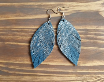 Silver and Blue Leather Feather Earrings. Handmade Bohemian Earrings. Boho Earrings. Bohemian Leather Jewelry. Silver Leaf Earrings.