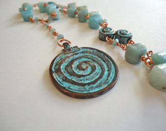 Amazonite Spiral Pendant Necklace, Spiral of Life Pendant, Amazonite and Copper Wire Wrapped Necklace