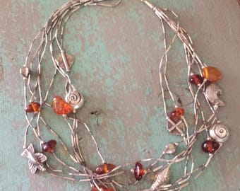 Hill Tribe Silver & Amber Necklace