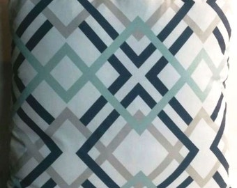 Geometric Premier Prints Winston Premier Navy Blue Aqua Grey White Indoor Decorative Throw Pillow Cover with Solid Backing fabric and Zipper