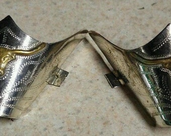 Vintage Western cowboy boot longhorn silver plated toe tips