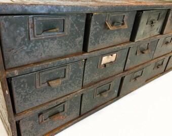 Vintage Industrial 18 Drawer Parts Tool Box, Steel Card Catalog Cabinet, Mid Century Metal Storage, Military Surplus