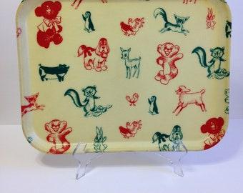 Vintage Mid Century Fiberglass Tray ~ Colorful Animals