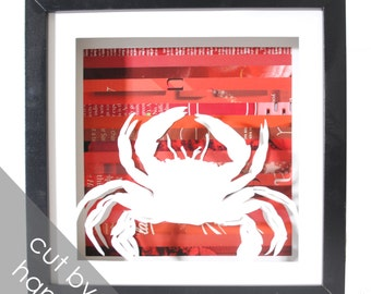 crab shadowbox made from recycled magazines, beach, sea, crustacean, ocean, summer, fishing