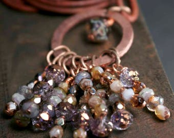 Multi Strand Necklace with Purple Lilac Green Plum Amethyst Honey Rust Green Dangle Fringe Necklace on Copper Ring Leather Necklace Cord