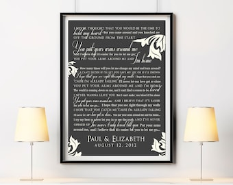 Wedding Song Lyric Wall Art Custom Print - Unique Personalized Keepsake Gift for Showers, Valentine's Day, Wedding, Holiday, Anniversary