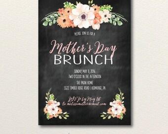 Mother's Day Brunch Invitation, Easter Brunch Invite, Chalkboard  Invitation, Rustic Bridal Shower Invite, Printable Invitation