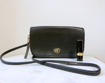 Vintage Black Leather Crossbody, Dorcelle, Made in the USA