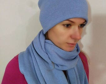 A set of beanie hat and scarf from Italian yarn