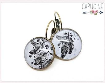 Dreamcatcher earrings - Feathers Hoop earrings - Earrings with glass dome feathers