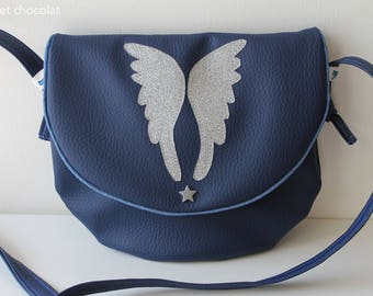 "Messenger bag women blue imitation leather, shoulder bag, handbag, women or teens hand made, pattern ""Wings"" silver glitter, small flap bag"