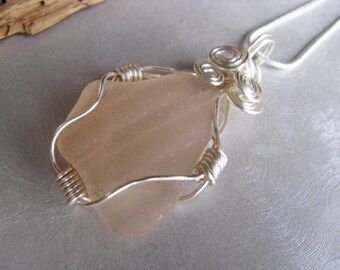 Wire Wrapped Rare Pink Sea Glass Statement Pendant  - Beach Glass Pendant - Sea Glass - Beach Glass Jewelry - Prince Edward Island Sea Glass