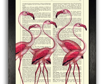 WALL DECOR Art Pink Flamingo Group Vintage Dictionary Page Poster Art, Cute Girlfriend Gift, Pink Bedroom Decor, Gift Poster, Girls Room Art
