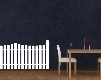 Picket Fence Vinyl Wall Decal,Country Home Decal, French Cottage, Garden Picket Fence,