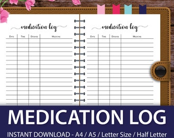 Medication Log, Medication Planner, Medication Tracker, Health Journal, Dikibook A5, Marion Smith, Color Crush Inserts, Color Crush Planner