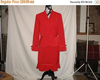 On Sale 1990s Beautiful Red Jacket and Skirt Set Dress Christmas Elf Santas Helper Mrs Claus Womens