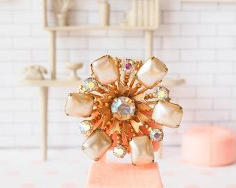 Vintage Atomic Brooch, Faux Pearl Rhinestone Brooch, Mid Century, 1950s Jewelry, Vintage Jewelry, Vintage Brooch, Pin, Costume Jewelry, PIn