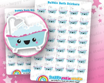 35 Cute Bubble Bath/Relax/Me Time Planner Stickers, Filofax, Erin Condren, Happy Planner,  Kawaii, Cute Sticker, UK