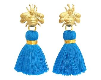 Queen Bee Tassel Earrings - Bright Blue