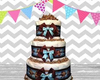 3 Tier Diaper Cake - Baby Shower Gift - Baby Shower Centerpiece - Monkey Theme Blue and Brown