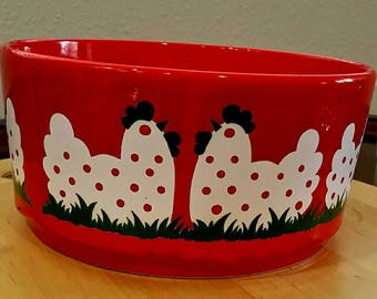"RARE Hens Waechtersbach Germany Large 9"" Red Serving/Pasta/Decorative Bowl"