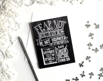 Isaiah 41:10, Scripture Card, Bible Verse Card, Fear Not For I Am With You, Chalkboard Art, Chalk Lettering, Chalk Typography, Chalk Art