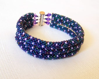 Beadwork - 3 Strand Bead Crochet Rope Bracelet in irridescent blue and lilac - beaded bracelet - beaded jewelry