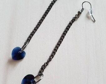 Sale Sale Sale Midnight blue Swarovski heart drop earring