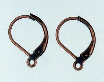 100 Antiqued Copper Leverback Earrings earwire 10X16mm