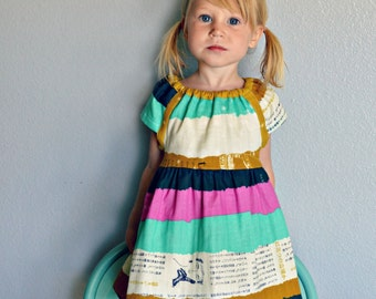 Spring dress mustard yellow, navy blue, turquoise, aqua, pink, Spring Photo shoot outfit stripes double gauze birthday dress baby toddler