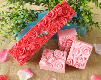 Rose Soap Mold Silicone Mold Soap Mould Cuboid Bar Loaf Candle Mold Resin Mold