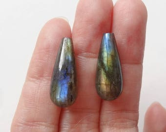Labradorite Half Top Drilled Briolette Drops 8x20 mm One Pair K6185 J6318