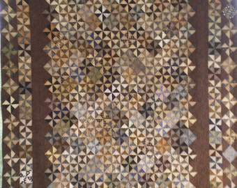 Full Size Pinwheel Block Quilt in Light and Dark Neutral Colors