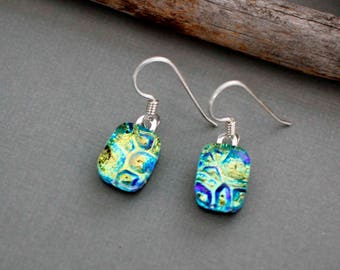 Sterling Silver Dangle Earrings - Fused Glass Earrings - Unique Earrings - Green Earrings - Dichroic Glass Earrings - Gift for Her
