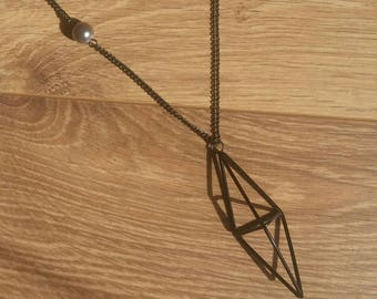 Black diamond long necklace