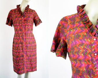 Jan Sue of California Short Sleeve Ruffle Neck Bold Pink Phycadelic Print Vintage Retro Dress