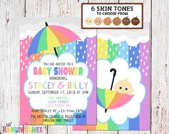 Pastel Rainbow Baby Shower Invitations, PRINTABLE Baby Shower Invitations, Rainbow Themed Baby Shower Invite, Rainbow Invite, Pale Skin Tone