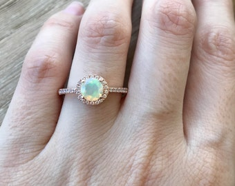Opal Engagement Ring- Rose Gold Halo Ring- Opal Promise Ring for Her- Round Genuine Opal Ring- Classic October Birthstone Ring