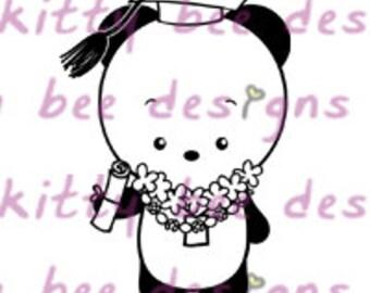 Graduation Panda Digital Stamp