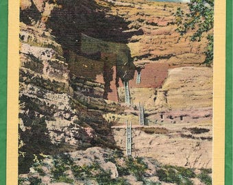 Vintage  Linen Postcard -  Cliff Dwelling - Montezuma Castle National Monument Located in Camp Verde, Arizona  (3321)