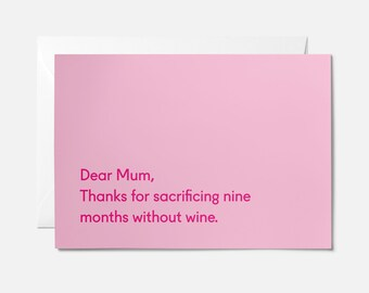 Funny Mothers day card - Funny mom card - Card for mom birthday - Mother's day card - Funny mum birthday card - Mothers Day - Wine
