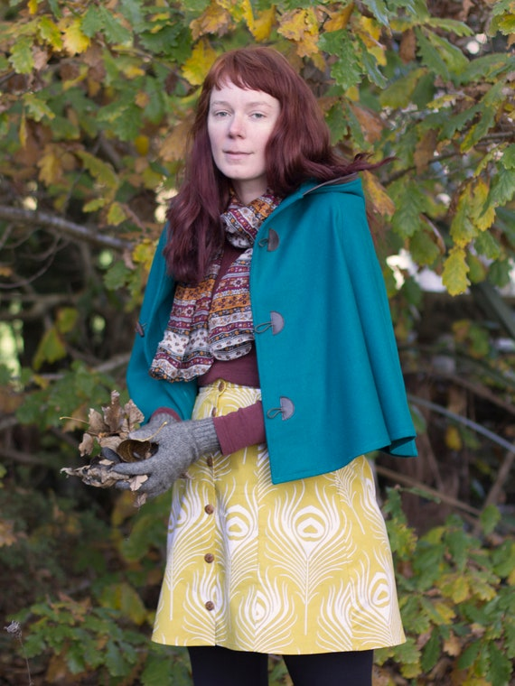 Turquoise, Teal Cape, Cloak, Poncho, Coat with Leather Trim Hood and Wooden Toggles.