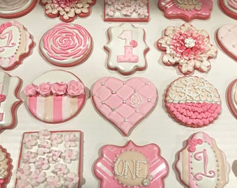 Pretty in pink cookies, baby cookies, decorated sugar cookies