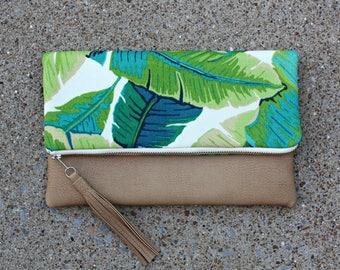 Palm tree fabric Foldover Clutch / Kindle Case