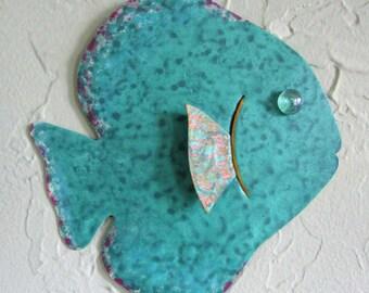 Tropical Fish Metal Wall Art Tropical Fish Sculpture Recycled Metal Beach House Coastal Bathroom Decor Teal Green 7 x 7
