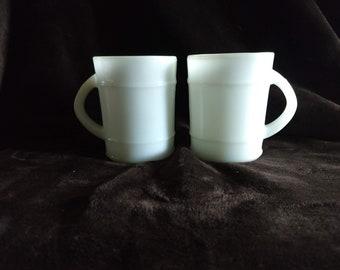 Anchor Hocking milk glass Barrel Ranger mugs