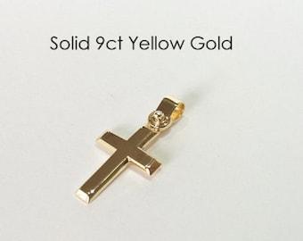 9ct 375 Yellow Gold Crucifix Cross Pendant Jewellery Genuine NEW
