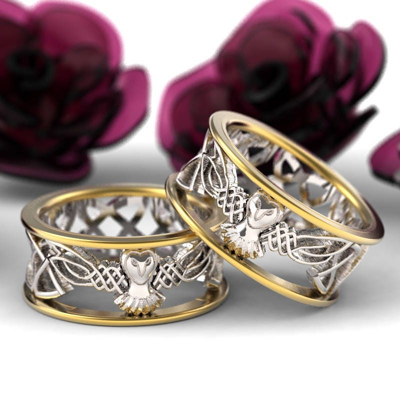 Celtic Wedding Ring Set His And Her Gold Owl Rings 2-tone
