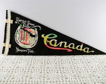 Vintage Felt Mini Pennant Horse Shoe Falls Niagara Falls Canada