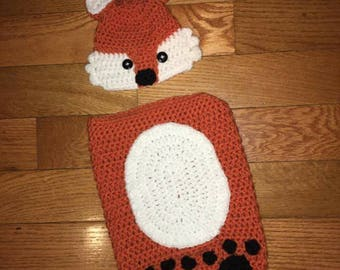 crochet fox hat with cocoon